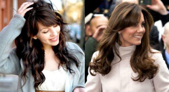 Косая челка стильное дополнение к длинным волосам