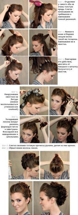 Вечерние причёски на волосы до плеч своими руками фото