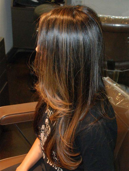 Мелирование из черного в коричневый