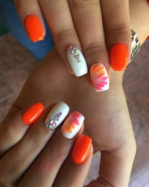 Лучший дизайн ногтей оранжевый
