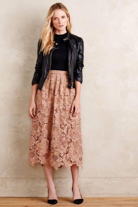 Бежевая юбка-безупречность классического стиля (50 фото)