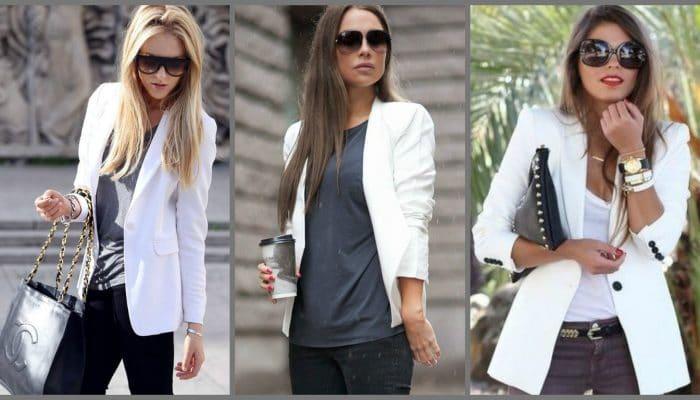 С чем носить белый пиджак? (55 фото)