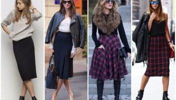 С чем носить юбки миди: образы на все случаи жизни (44 фото)