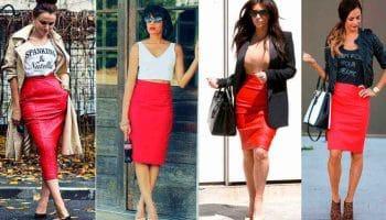 С чем носить красную юбку: советы для уверенных в себе женщин (48 фото)