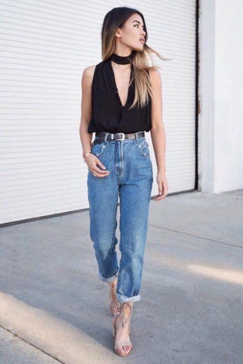 С чем носить джинсы бананы (mom jeans)? (50 фото)