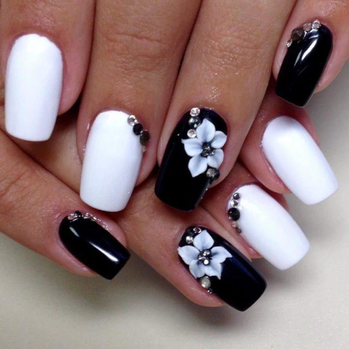 Маникюр черно белые блестки – Яркий маникюр