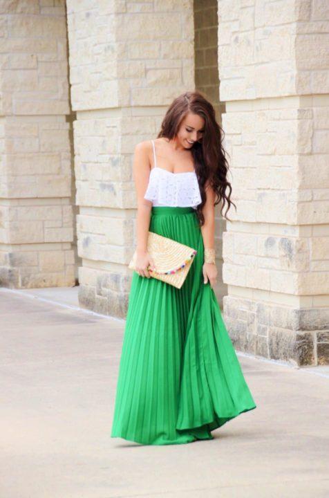 С чем носить зеленую юбку? (52 фото)