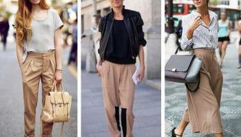 С чем носить бежевые брюки (50 фото)