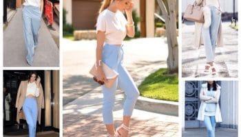 Голубые брюки с чем носить? (50 фото)