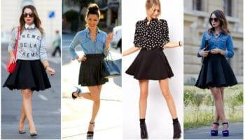 С чем носить юбку-солнце? (50 фото)