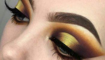 Золотой макияж для блеска ваших глаз (51 фото)
