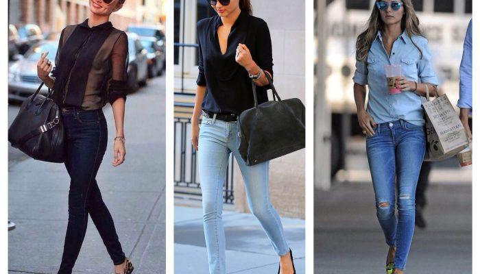 С чем носить джинсы — скинни? (50 фото)
