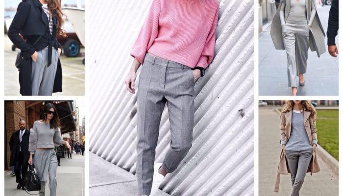 С чем носить серые брюки? (50 фото)