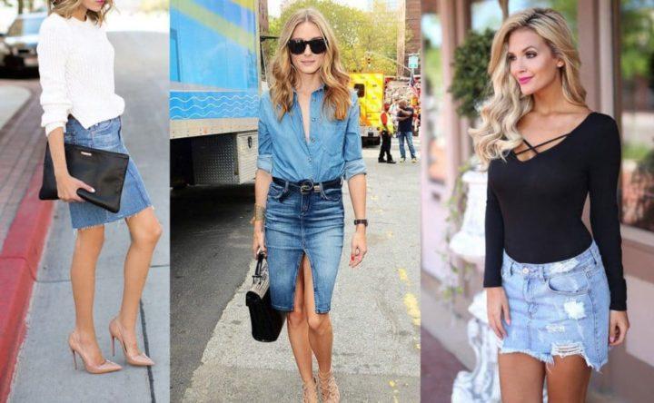 С чем носить джинсовую юбку карандаш зимой и летом? 132 фото женских образов с рубашкой и пиджаком