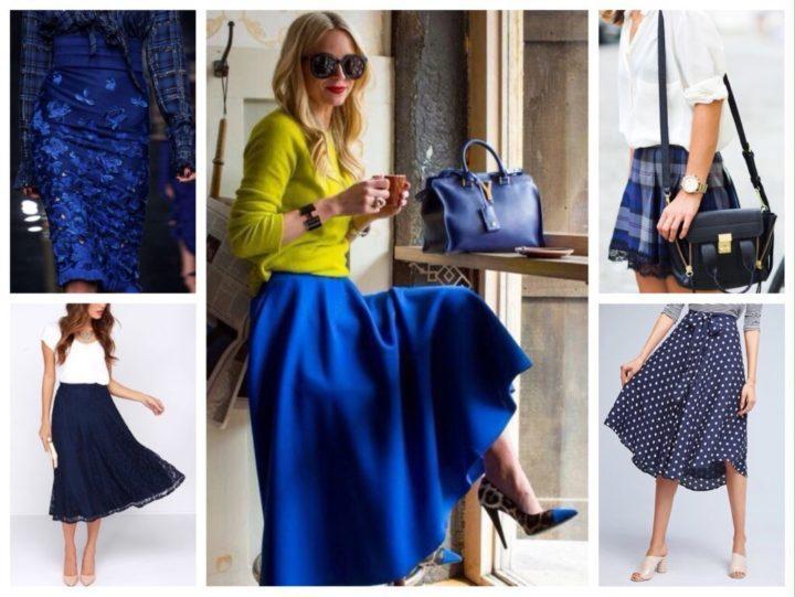 С чем носить синюю юбку? (50 фото)