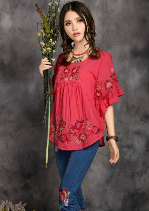 Что одеть с красной блузкой