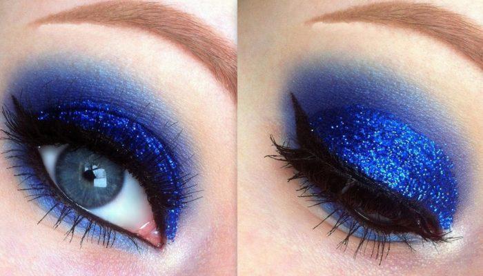 Синий макияж: стильно и ярко (50 фото)