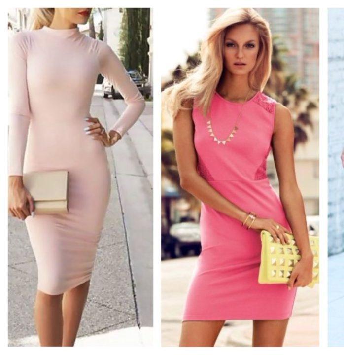 женский серый с чем носить розовое платье футляр фото почти оставляют