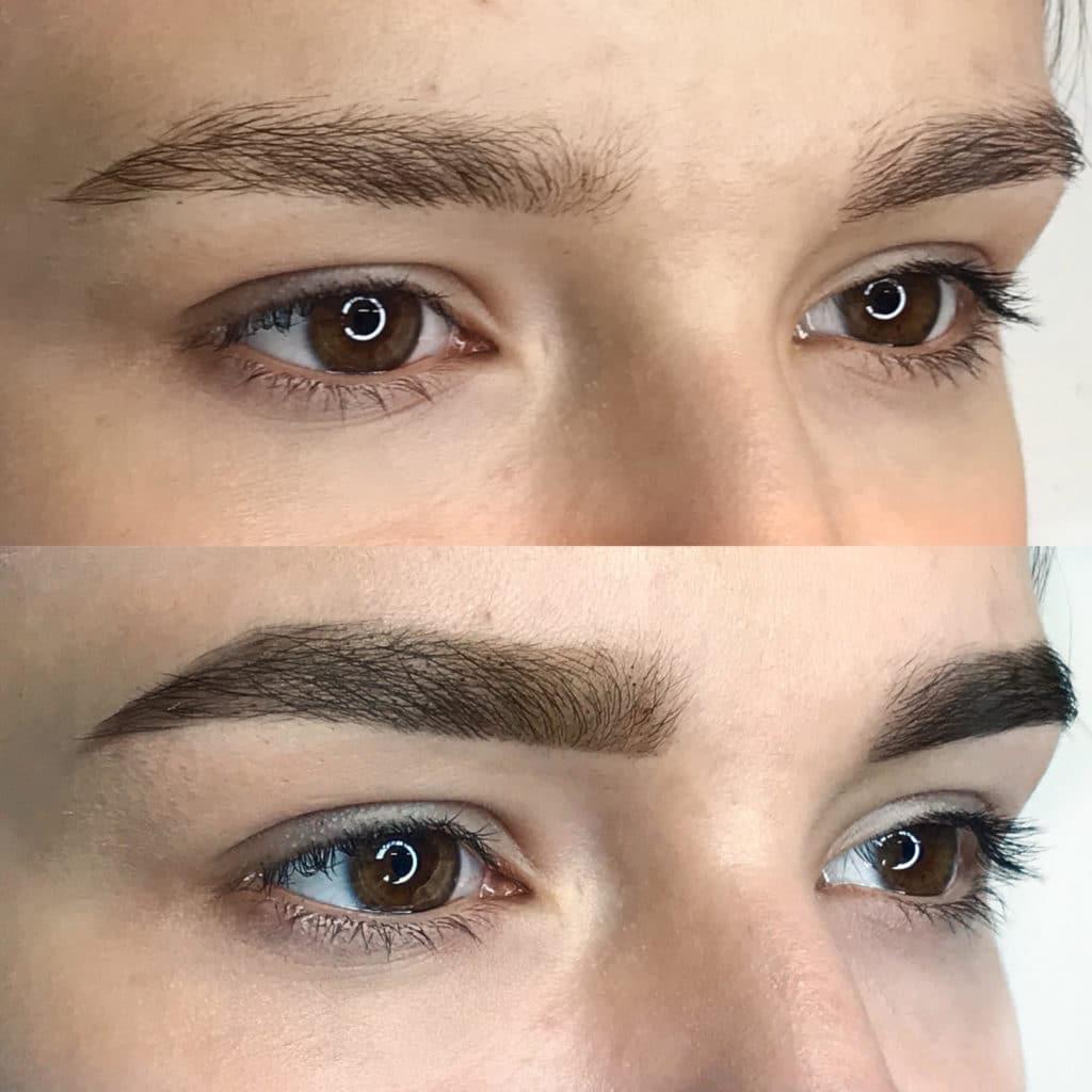 Биотатуаж бровей хной фото до и после
