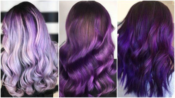 Модные фиолетовые, сиреневые и лиловые цвета волос (58 фото)