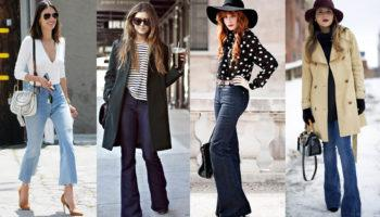С чем носить джинсы клеш (48 фото)