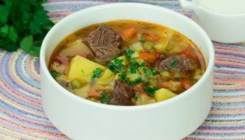 Вкусный суп на говяжьем бульоне