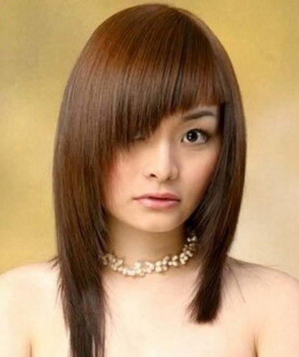 Фото причесок с косой челкой на длинные волосы фото