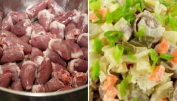 Потрясающий салат с отварными куриными сердечками. Стоит копейки, а вкус обалденный!