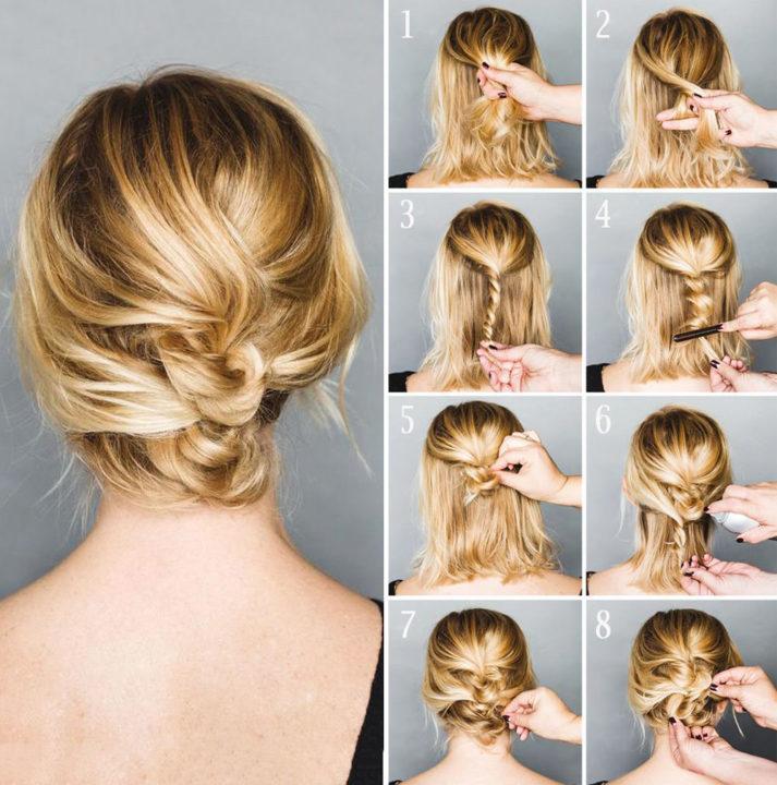 Прическа на короткие волосы фото своими руками