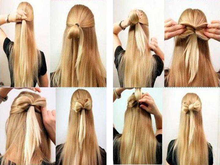 Как сделать бантик из волос на средние волосы 94