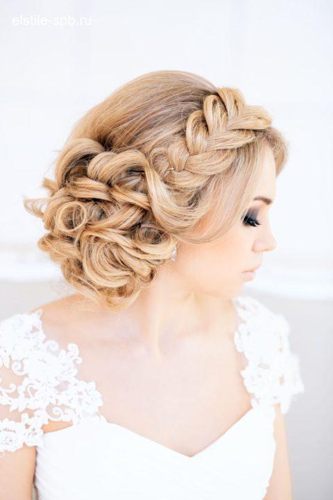 Свадебная прическа из косы на длинные волосы фото