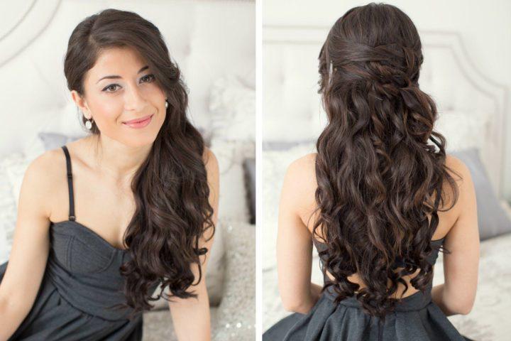 Вечерние причёски на длинные волосы фото с челкой своими руками фото 522