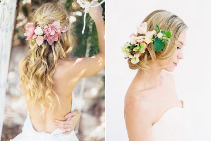 Искусственные цветы в прическу невесты фото