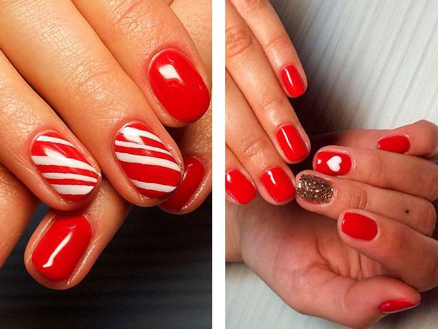 Дизайн коротких ногтей красным лаком фото